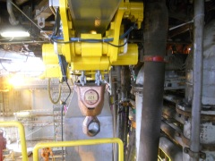View of single JDN monorail hoist as supplied for BOP handling on Seadrill West Epsilon rig, fitted with a lifting eye which is clearly visible.