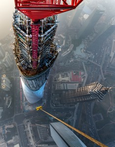 Python® Compac-35 wire rope hangs from the top of a Favelle Favco Crane on the Shanghai Tower.